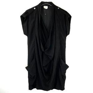 Reiss Dress Front Pockets V Neck Shift Black Sz 4